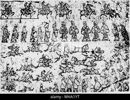 Battle scene between the Chinese and Steppe people engraved in a tomb in Shantung, North China. - Stock Photo