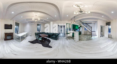GRODNO, BELARUS - AUGUST, 2019: Full spherical seamless hdri panorama 360 degrees angle view interior of guest room in homestead apartment  in equirec - Stock Photo