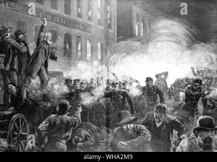 The anarchist riot in Haymarket Square, Chicago 1886 - A dynamite bomb exploding among the police.. . Engraving from Harpers Weekly May 15 1886 - Stock Photo