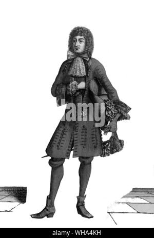 A London courtesan, from a drawing by Macellus Laroon II 1670 - 'Mr Pen to visit me. I perceive something of lerning he hath got, but a great deal ... of the vanity of the French garbe and affected manner of speech and gait.' (30th August 1664) French fashions, 1670. Taken from Pepys, Samuel English diarist and naval administrator; kept diary 1660-1669 (published 1893-1899); president of Royal Society 1684-1686 _1633-1703 - Stock Photo