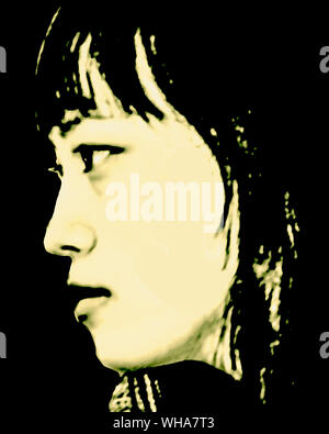 Pop art style attractive young asian woman side view close up portrait