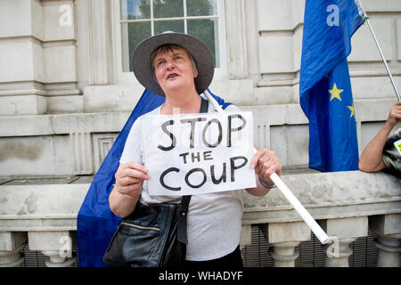 Parliament, Whitehall 2.9.2019. Remain protesters outside the Cabinet Office, one holds a sign saying 'Stop the Coup'. - Stock Photo