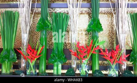 Beautiful Flower Arrangements In Luxury Hotel - Stock Photo