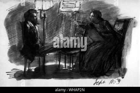 D G Rossetti. Self portrait sketch, sitting to Elizabeth Siddal. September 1853 . . . . Rossetti, Dante Gabriel (orig. Gabriel Charles Dante Rossetti) English painter and poet; co-founder of Pre-Raphaelite movement 1848; brother of Christina Rossetti _1828-1882 . . . - Stock Photo