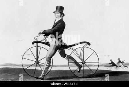 Johnson, the first rider on the Pedestrian Hobbyhorse - Stock Photo