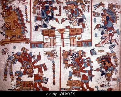 A Mixtec Codex page from the Codex Zouche Nuttall. The Conquistadors by Hammond Innes, page 120. - Stock Photo