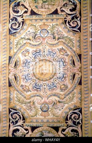 Detail from a Savonnerie carpet for the Grande Galerie of the Louvre, Paris, France. The Sun King by Nancy Mitford, page 113..      In 1608 Henry IV i - Stock Photo
