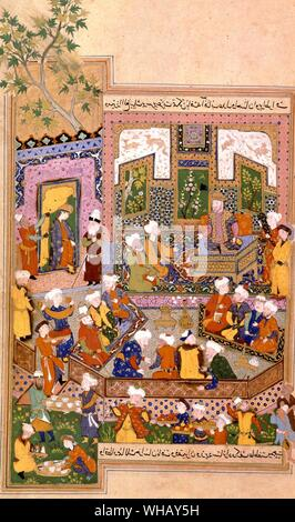 Ulugh Beg (1394-1449) dispensing justice at Khurasan. Miniature from a 15th century Shah nama 1486. From Samarkand by Wilfrid Blunt, page 173.. - Stock Photo