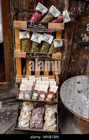 AREZZO, TUSCANY, ITALY - JANUARY 10, 2016: Typical tuscan artisan pasta and spices in one of the oldest shops in the city of Arezzo - Stock Photo