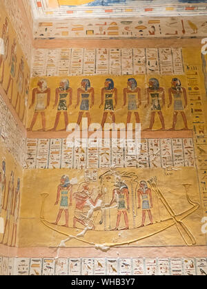 The Valley of the Kings near Luxor in Egypt: inside the tomb of Ramses IV - Stock Photo