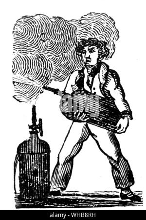 Captain Manby's invention 1816 by courtesy of the Fire Protection Association, London - Captain George William Manby (born November 28, 1765 in Denver, Norfolk, England. died November 18, 1854 in Great Yarmouth) was the inventor of a portable fire extinguisher amongst other things.. - Stock Photo
