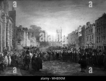 The Reception of the Prince Regent in the High Street, Oxford, 14 June 1814, engraving by George Jones, oil on canvas in Magdalen College, Oxford.. - Stock Photo
