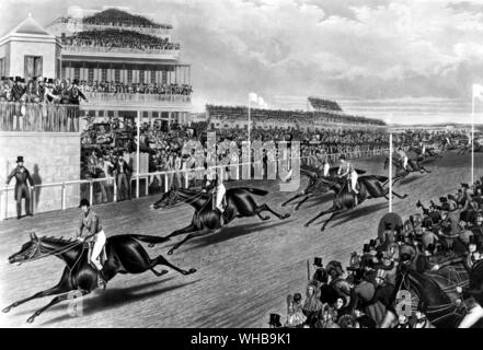 Liverpool Grand Steeple Chase , 1839 , by Charles Hunt - Stock Photo