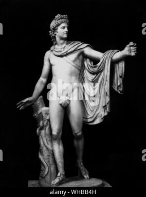 Apollo Belvedere .  Roman copy , ? 1st Century BC , marble , height 88 1/4 inches or 223 cm. The Vatican Museums & Galleries , Italy - Stock Photo