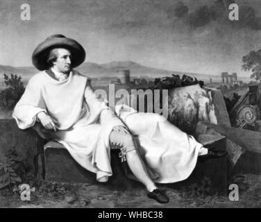 Goethe in the Roman Campagne 1787 by J.H.W. Tischbein - Johann Wolfgang von Goethe (28 August 1749 - 22 March 1832) was a German writer. George Eliot called him Germany's greatest man of letters... and the last true polymath to walk the earth. Goethe's works span the fields of poetry, drama, literature, theology, humanism, science and painting. Goethe's magnum opus, lauded as one of the peaks of world literature, is the two-part dramatic poem Faust. Goethe's other well-known literary works include his numerous poems, the Bildungsroman Wilhelm Meister's Apprenticeship and the epistolary novel - Stock Photo