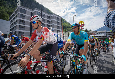 Andorra la Vella, Andorra. September 2019: Cyclists of the Vuelta de Espana just after the beginning of the race - Stock Photo