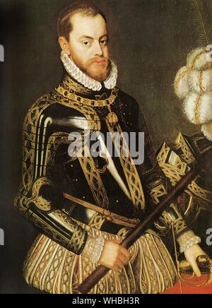 King Philip II, an able but inflexible ruler, strove to conquer England for Catholic Spain.. Philip II (May 21, 1527 - September 13, 1598) was King of Spain from 1556 until 1598, King of Naples from 1554 until 1598, king consort of England (as husband of Mary I) from 1554 to 1558, Lord of the Seventeen Provinces (holding various titles for the individual territories, such as Duke or Count) from 1556 until 1581, King of Portugal and the Algarves (as Philip I) from 1580 until 1598 and King of Chile from 1554 until 1556. Philip II is considered one of the greatest sovereigns in the History of - Stock Photo