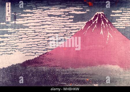 Katsushika Hokusai : 1760 - 10 May 1849 Japanese artist , ukiyo-e painter and printmaker of the Edo period , seen here Mount Fuji in Clear Weather - Stock Photo