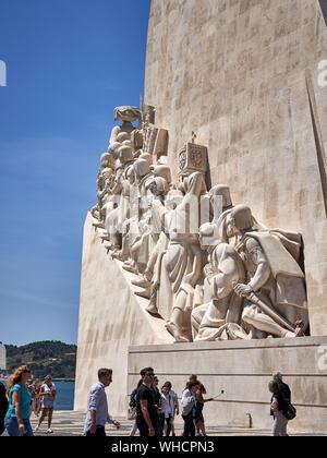 Monument to the Discoveries Santa Maria de Belém, Lisbon, Portugal - Stock Photo
