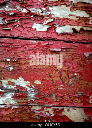 Full Frame Shot Of Paint Peeling Off From Old Wooden Door - Stock Photo