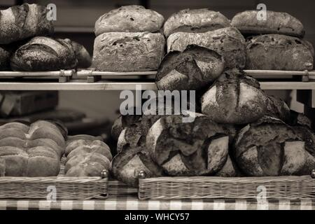 Breads In Shelf At Bakery For Sale - Stock Photo