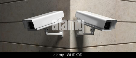 Surveillance CCTV Cameras. Security cam outdoors against marble wall background, banner. 3d illustration - Stock Photo