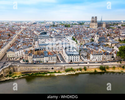Orleans town aerial panoramic view. Orleans is a prefecture and commune in north central France - Stock Photo