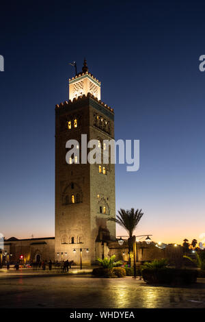 The greatest mosque Koutoubia Mosque in Marrakesh at night. - Stock Photo