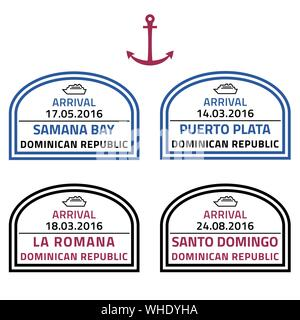 Dominican Republic travel stamps - Caribbean cruise ship destination badge. - Stock Photo