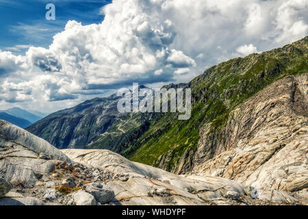 panorama view from rhone glacier to furka and grimsel pass near gletsch, switzerland - Stock Photo