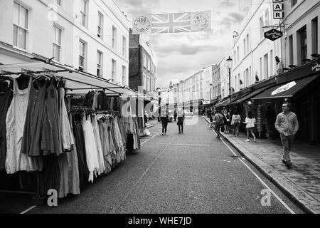 Street Market on Portobello Road, Notting Hill - Stock Photo