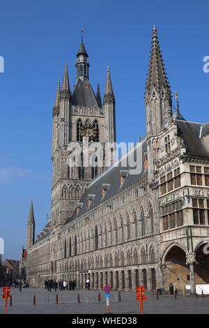 The Cloth Hall (Lakenhalle) in Ypres / Ieper market square - Stock Photo