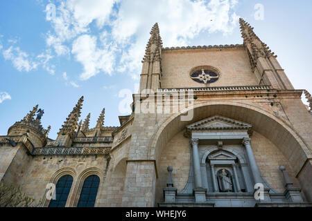 SEGOVIA, SPAIN - APRIL 25, 2018: The facade of the cathedral of Segovia. - Stock Photo