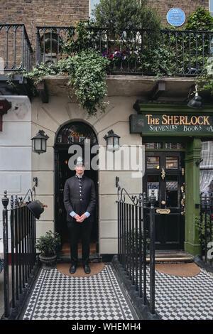 London, United Kingdom - May 24, 2018: Sherlock Holmes Museum, 221 Baker street in London, England, United Kingdom. - Stock Photo