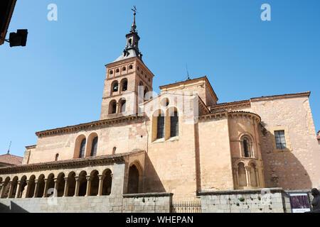 SEGOVIA, SPAIN - APRIL 25, 2018: The facade of the San Martin church in Segovia. - Stock Photo