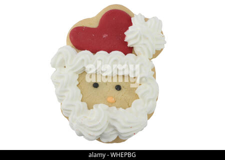 Close-up Of Heart Shape Cookie Against White Background - Stock Photo