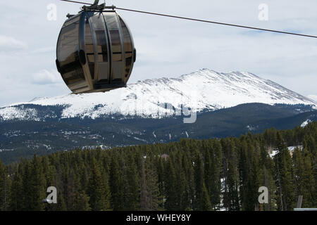 Chair Lift Gondola On Vail Mountain Resort In Colorado - Stock Photo