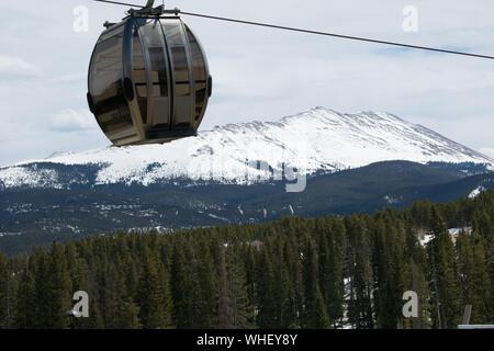 Chair Lift Gondola On Vail Mountain Resort In Colorado - Stock Photo