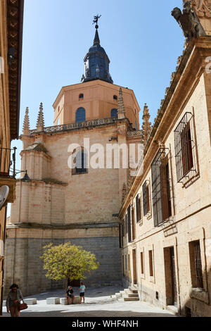 SEGOVIA, SPAIN - APRIL 25, 2018: One of the exterior walls and tower of the cathedral of Segovia. - Stock Photo