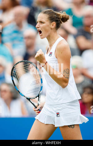 Karolina Pliskova (Czech Republic) celebrating point won against against Caroline Wozniacki (Denmark) at Aegon International 2017- Eastbourne - Englan - Stock Photo
