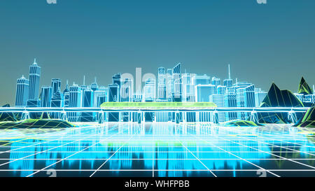 Retro futuristic skyscraper city 1980s style 3d illustration. Digital landscape in a cyber world. - Stock Photo