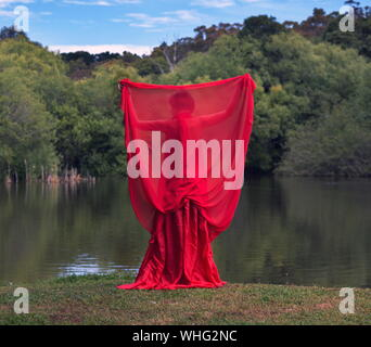Rear View Of Woman Covered With Red Dress Standing At Lakeshore - Stock Photo