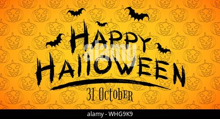 Happy Halloween text banner. Pumpkins seamless pattern. Horrible grunge calligraphy with bats and spiders on a dark background. Vector illustration. E - Stock Photo