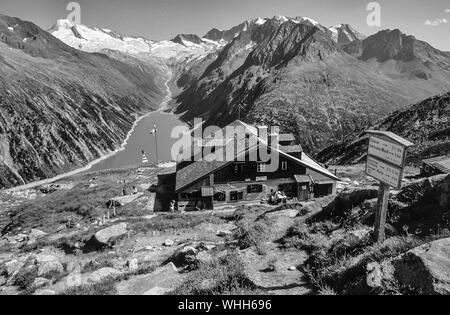 The Alte Olperer Hut mountain refuge in the Zillertal Alps above Schlegeis not far from the resort town of Mayrhofen in the Austrian Tirol - Stock Photo