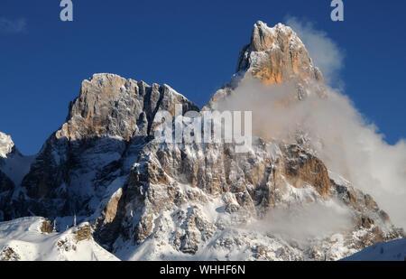 Cimon della Pala, mountain group Pale di San Martino in the Italian Dolomites, Europe. - Stock Photo