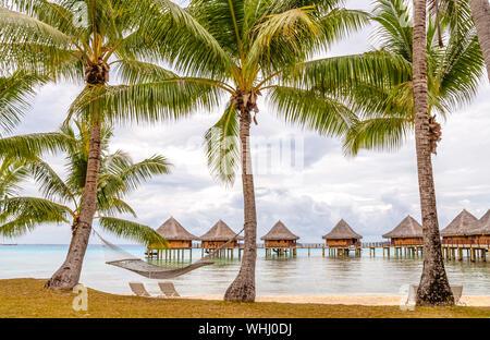 Beach resort at a lagoon on Tuamotu Island, French Polynesia