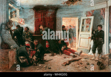 Les dernières cartouches (The last cartridges). French snipers ambush Bavarian troops, hiding in the l'Auberge Bourgerie in Bazeilles, prior to the Battle of Sedan during the Franco-Prussian War in 1870. Painting by Alphonse-Marie-Adolphe de Neuville, 1873 - Stock Photo