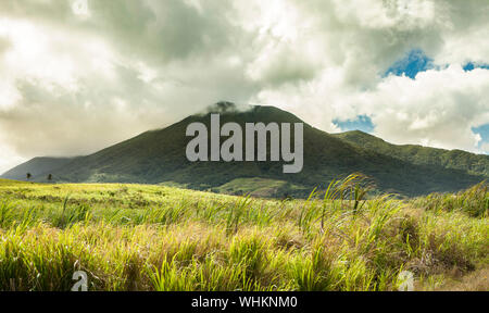 The volcano of Mt Liamuiga on St Kitts, in the Caribbean - Stock Photo