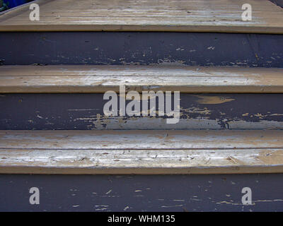 Close up of three wooden steps leading up to a Glebe neighbourhood house. Ottawa, Ontario, Canada. - Stock Photo