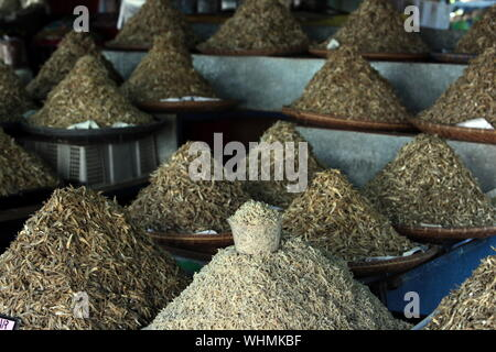 smal fish at the market in the city of Bandar seri Begawan in the country of Brunei Darussalam on Borneo in Southeastasia. - Stock Photo